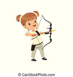 conceito, pequeno, crianças, prática, tiro com arco, ilustração, vetorial, fundo, atividade, menina, branca, físico