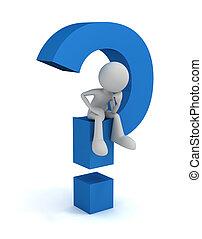 conceito, pergunta, ilustração, marca, 3d, homem