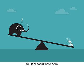 conceito, pesando, imagem, vetorial, ant., elefante