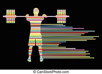 conceito, peso, abstratos, vetorial, fundo, levantamento,...