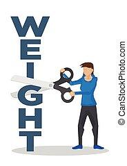 conceito, peso, ou, block., scissor, perda, corte, aparando, usando, menina, gigante