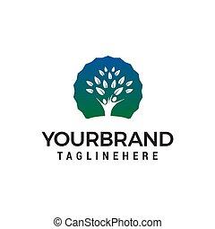 conceito, pessoas, árvore, vetorial, desenho, modelo, logotipo