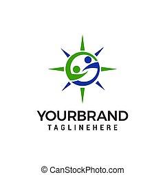 conceito, pessoas, dois, ajudando, vetorial, desenho, t, modelo, mãos, logotipo