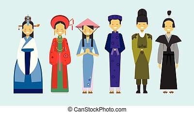 conceito, pessoas, nacional, trajes, tradicional, jogo, asiático, roupa