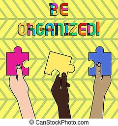 conceito, pessoas, sendo, texto, quebra-cabeça, limpo, pedaços, segurado, cuidadosamente, diferente, coisas, jigsaw, capaz, três, escrita, vazio, ser, plano negócio, hands., palavra, colorido, organized., mantenha