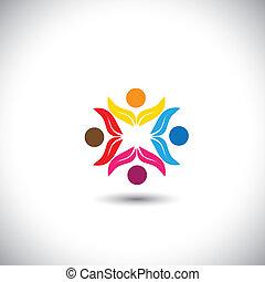 conceito, pessoas, trabalho equipe, junto, crianças, -, equipe, também, círculo, amizade, eco, ícones, unidade, gráfico, solidariedade, amigos, representa, crianças, este, tocando, vetorial, divertimento, icon., tendo