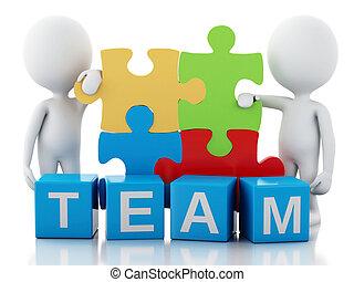 conceito, pessoas, trabalho, junto., equipe, branca, 3d