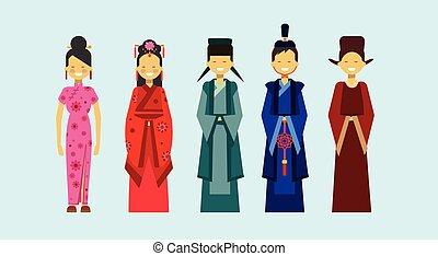 conceito, pessoas, trajes, tradicional, jogo, asiático, étnico, roupa