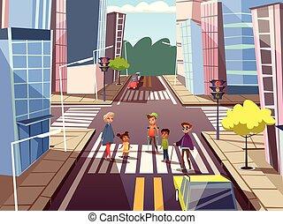 conceito, pessoas, vetorial, cruzamento, caricatura, estrada