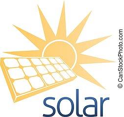 conceito, poder solar, painel