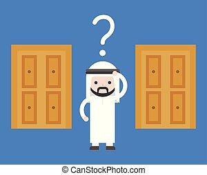 conceito, porta, negócio, solução, confundir, escolha, árabe, direita, escolher, fazer, decisão, homem
