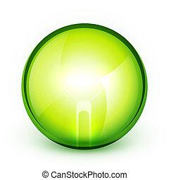 conceito, poupar, luz, energia, bublb, verde
