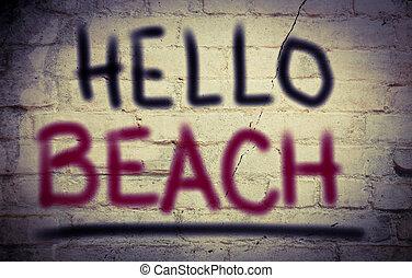 conceito, praia, olá
