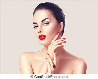 conceito, pregos, maquilagem, lábios, mulher, excitado, vermelho, closeup.