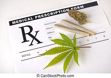 conceito, prescrição, médico, -, marijuana, cannabis, fundo