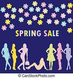 conceito, primavera, venda, silhuetas, moda, mulheres