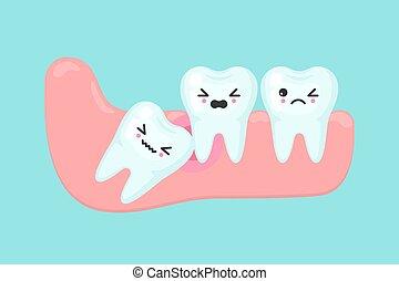 conceito, problemas, dental, dente, sabedoria, stomatology, vetorial