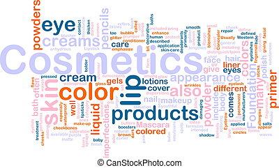 conceito, produtos, cosméticos, fundo