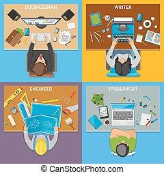 conceito, profissões, desenho, 2x2, vista superior