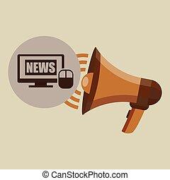 conceito, projeto digital, internet, notícia, megafone