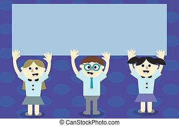 conceito, promocional, falando, desenho, sorrindo, cantando, espaço, isolado, cupons, modelo, vazio, apartamento, negócio, material, ilustração, braços, cartazes, cópia, levantamento, ambos, escola brinca, vetorial, três, cima