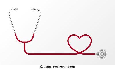 conceito, pulso, fundo, coração, estetoscópio, vetorial