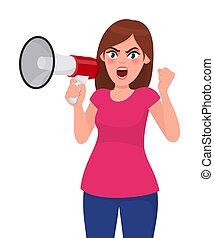 conceito, punho, style., alto-falante, aberta, zangado, shouting, segurando, widely., megaphone/loud, olhos, mulher, ilustração, gritando, caricatura, levantamento, megafone, orador, enquanto, vetorial, alto, ou