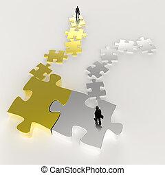 conceito, quebra-cabeça, sociedade, metal, homem negócios, 3d, ícone