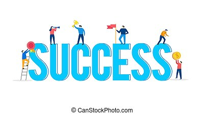 conceito, realizações, sucesso, pessoas, cena, caráteres, trabalho equipe, pequeno