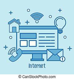 conceito, rede, ícones, mídia, tela, computador, internet
