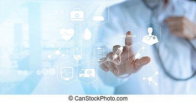 conceito, rede, doutor, médico, virtual, tela, tocar, branca, tecnologia, ícone