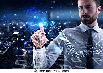 conceito, rede, global, interligação, conectando, internet, world., homem