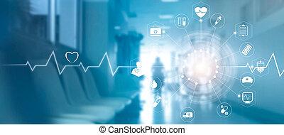 conceito, rede, médico, modernos, tela, virtual, interface, conexão, fundo, medicina, tecnologia, hospitalar, ícone