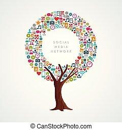 conceito, rede, mídia, app, social, internet