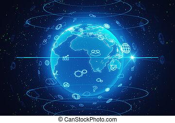 conceito, rede, nuvem, social