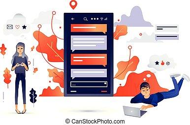 conceito, rede, pessoas, comunicação, social, caricatura, conectando, internet, devices.