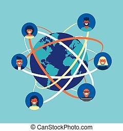 conceito, rede, pessoas, global, internet, equipe, social