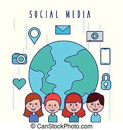conceito, rede, pessoas, mídia, globo, conexão, social