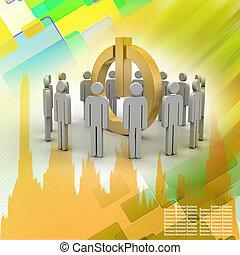 conceito, rede, pessoas,  social, pequeno,  3D