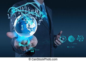 conceito, rede, trabalhando, mostrar, modernos, computador, homem negócios, novo, estrutura, social