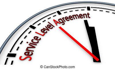 conceito, relógio, acordo, ilustração, service-level, usando