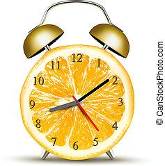 conceito, relógio, alarme, orange., diet., vector., feito