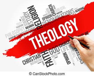 conceito, religião, colagem, palavra, nuvem, teologia
