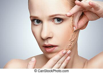 conceito, renovação, beleza, problemas, cuidado pele, ...