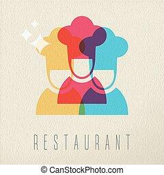conceito, restaurante, cor, cozinheiro, desenho, ícone