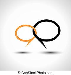 conceito, símbolo, -, vetorial, fala, conversa, linha, bolha...