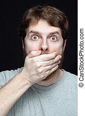 conceito, -, segredo, fofoca, notícia, espantado, homem