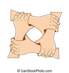 conceito, segurando, -, ou, vetorial, teamwork., modelo, mãos, círculo, design., amizade, seu, illustration.