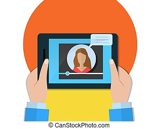 conceito, segurando, tabuleta, blogger, tela, jogador, vídeo, fêmea passa
