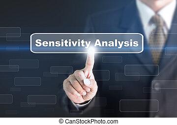 conceito, sensibilidade, button., análise, apertando, homem ...